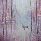 Frost King - a red deer in a frosty forest - art nouveau style by Gill Bustamante