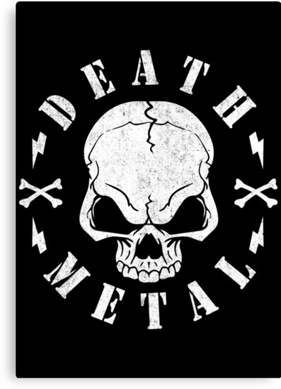 death metal skull canvas prints by shirtwreck redbubble