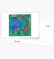 Patterned Hippo Postcards