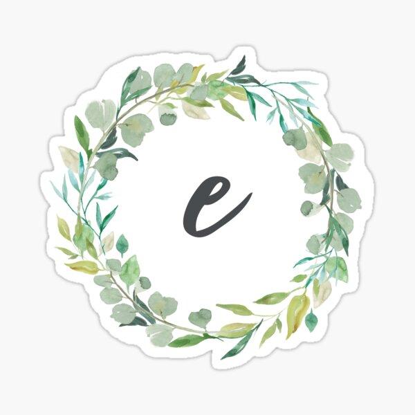 Monograma de corona frondosa de letra E Pegatina