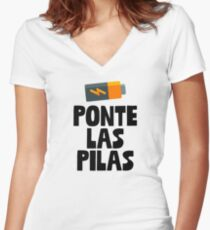 Ponte Las Pilas Sticker & T-Shirt - Gift For Spanish Class Women's Fitted V-Neck T-Shirt