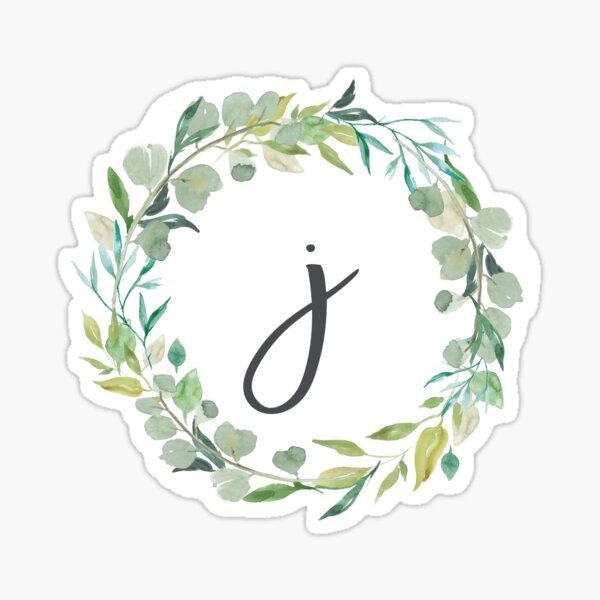 Monograma de guirnalda frondosa de letra J Pegatina