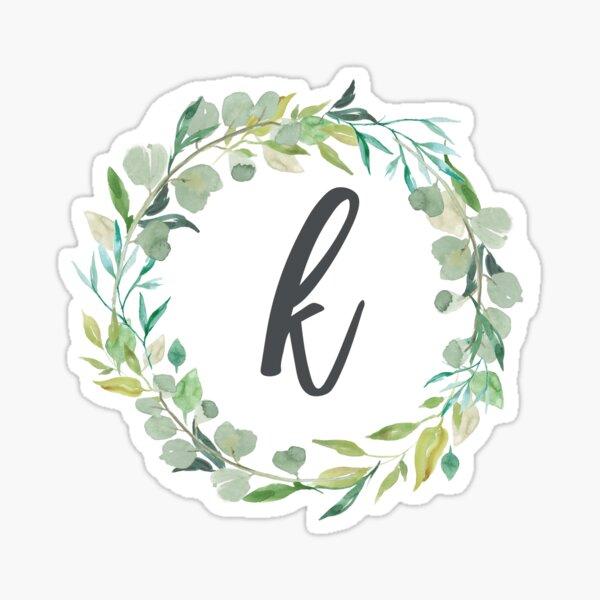 Letter k Leafy Wreath Monogram  Sticker