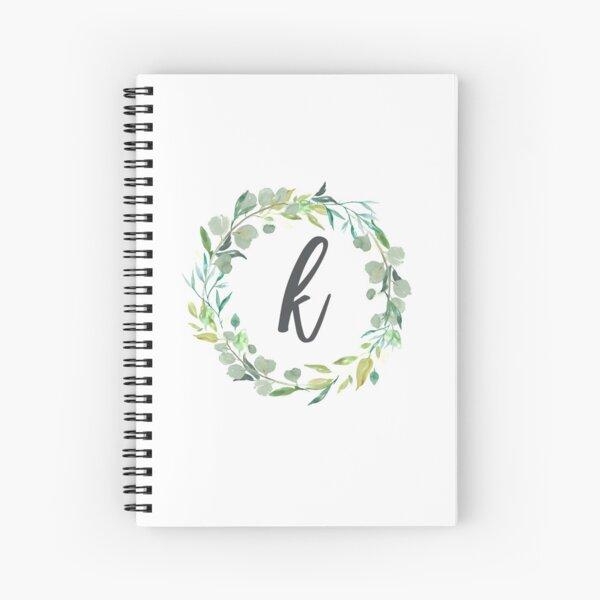 Letter k Leafy Wreath Monogram  Spiral Notebook