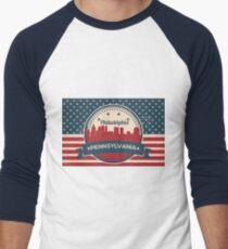 Retro Philadelphia Vector Skyline Men's Baseball ¾ T-Shirt