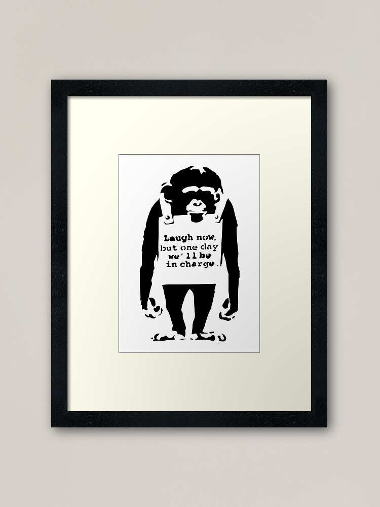 Alternate view of Banksy Laugh Now But One Day We'll Be In Charge Monkey Framed Art Print