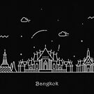 Bangkok Skyline Minimal Line Art Poster by A Deniz Akerman