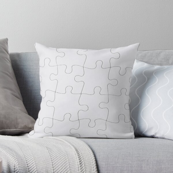 Jigsaw Puzzle Lines Design Throw Pillow