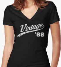 1968 Vintage Birthday Women's Fitted V-Neck T-Shirt