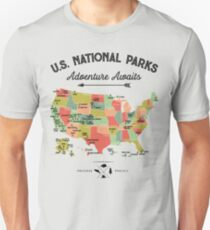 National Park Map Vintage T Shirt - All 59 US National Parks T-shirt Unisex T-Shirt