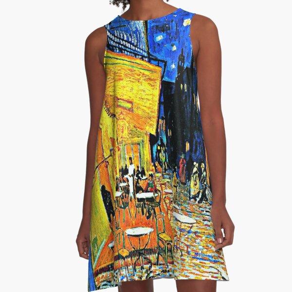 Van Gogh - Cafe Terrace, Place-du-Forum-Arles A-Line Dress
