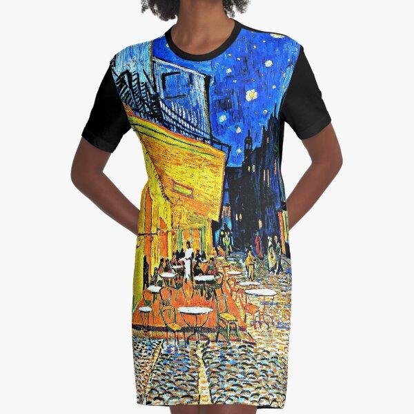 Van Gogh - Cafe Terrace, Place-du-Forum-Arles Graphic T-Shirt Dress