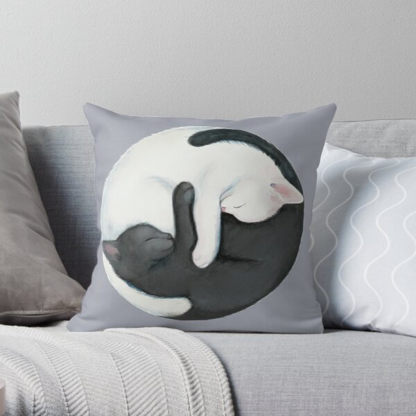 Yin Yang Balancing Cats Throw Pillow