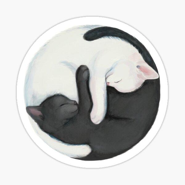 Gatos de equilibrio de Yin Yang Pegatina
