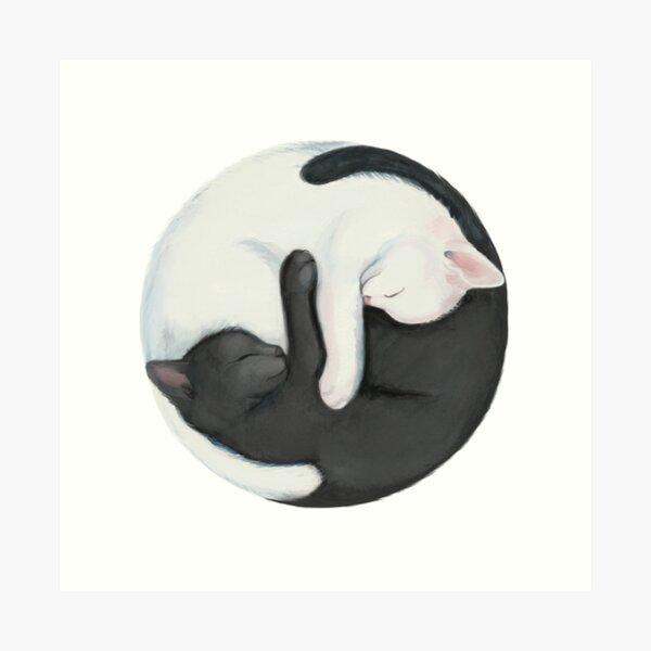 Yin Yang Balancing Cats Art Print