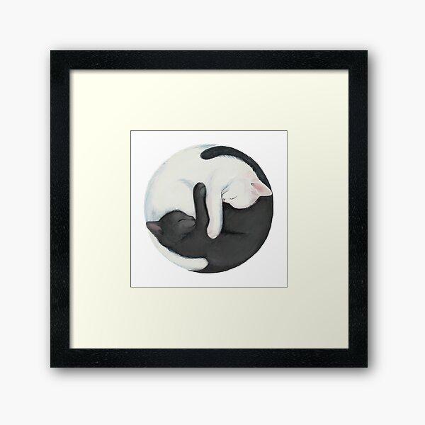Gatos de equilibrio de Yin Yang Lámina enmarcada