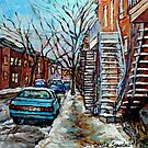 WINTER STREET SCENE SNOWY DECEMBER DAY MONTREAL WINTER IN THE CITY PAINTINGS FOR SALE CAROLE SPANDAU ART by Carole  Spandau