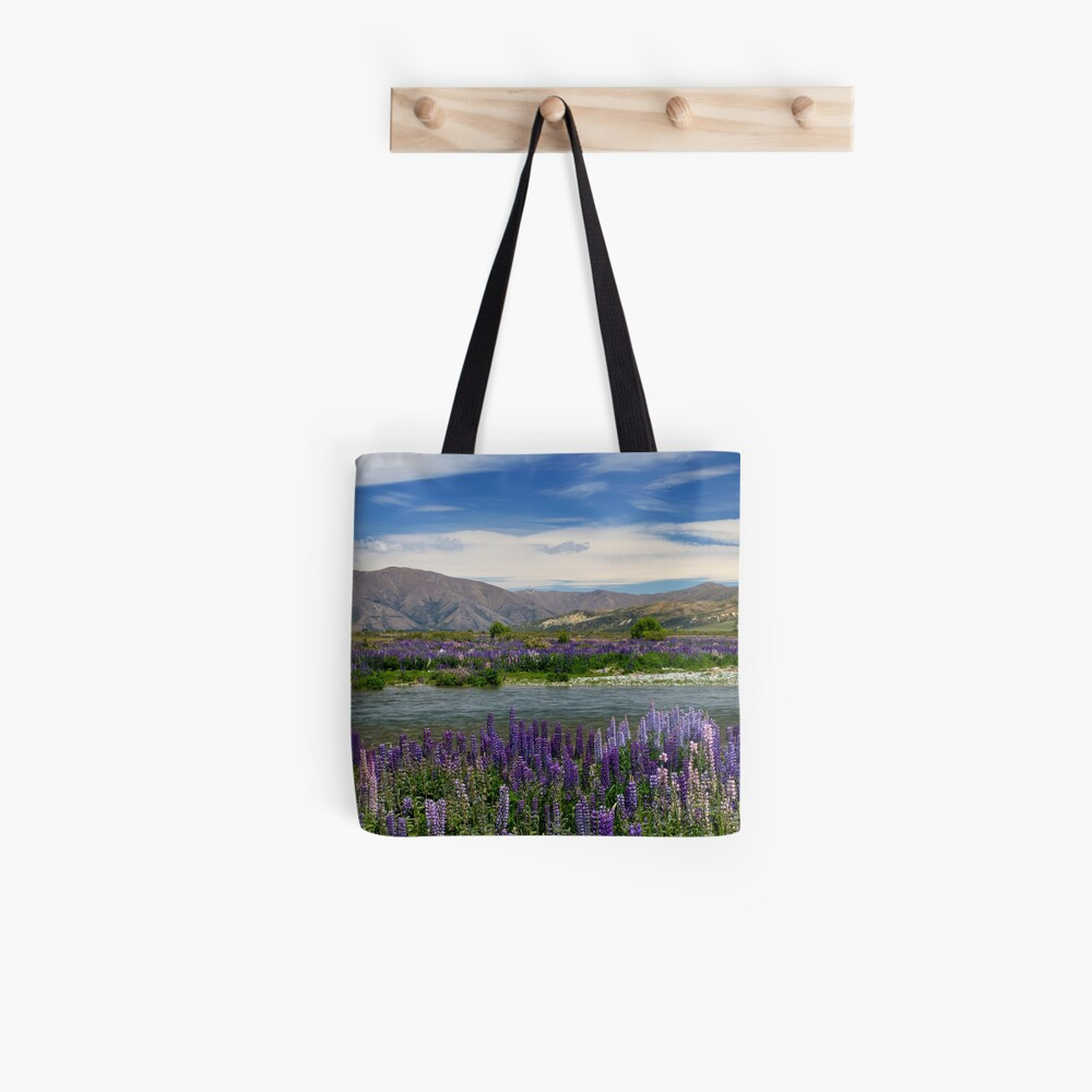 Lupin lined Ahuriri River - NZ Tote Bag
