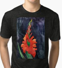 watercolor drawing of red gladiolus Tri-blend T-Shirt