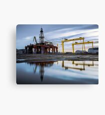 Harland and Wolff with oil rig Canvas Print