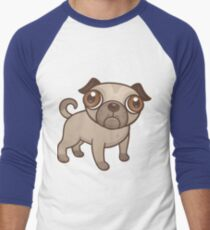 Pug Puppy Cartoon Men's Baseball ¾ T-Shirt