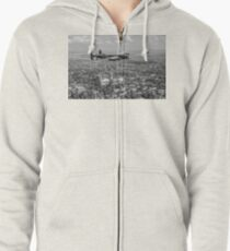 Lancaster City of Lincoln over Lincoln B&W version Zipped Hoodie