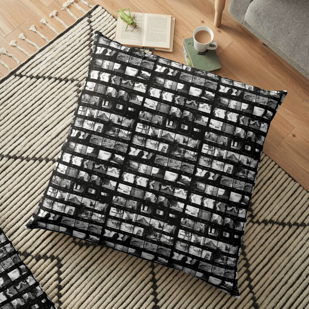 Contact Sheet Black And White Analogue Film Floor Pillow