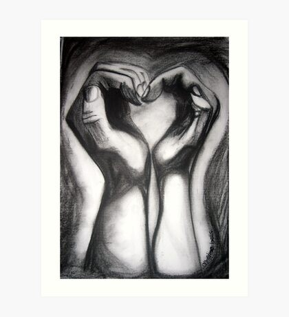 Two Hands/One Heart - charcoal Art Print