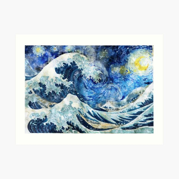 Great Wave During a Starry Night  (Click on Artist Notes) Art Print
