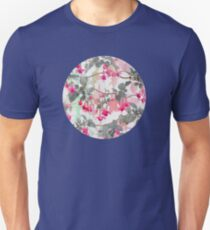 Rainbow Fuchsia Floral Pattern - with grey Unisex T-Shirt