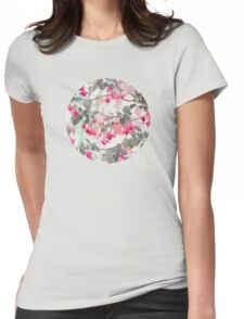 Rainbow Fuchsia Floral Pattern - with grey Womens Fitted T-Shirt