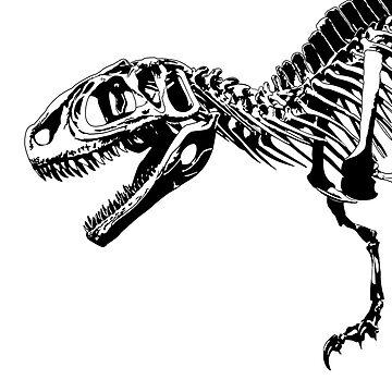 colossal fossil Trex Illustration Dinosaurs by HoneymoonHotel