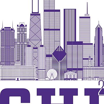 """Chicago Squared"" Skyline purple by MetzgerAndSons"