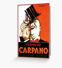 Italian Booze Vintage Advert Creepy Man in Tux Greeting Card