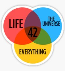 42 The Answer To Everything Sticker & T-Shirt - Gift For Book Lover Sticker