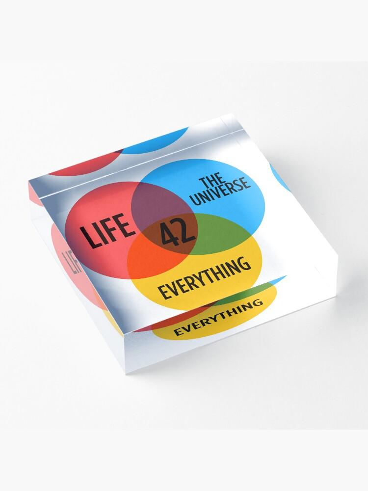 Vista alternativa de Bloque acrílico 42 The Answer To Everything Sticker & T-Shirt - Gift For Book Lover