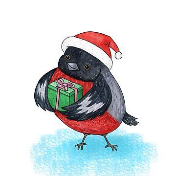 Bullfinch with gift box by AllaRi