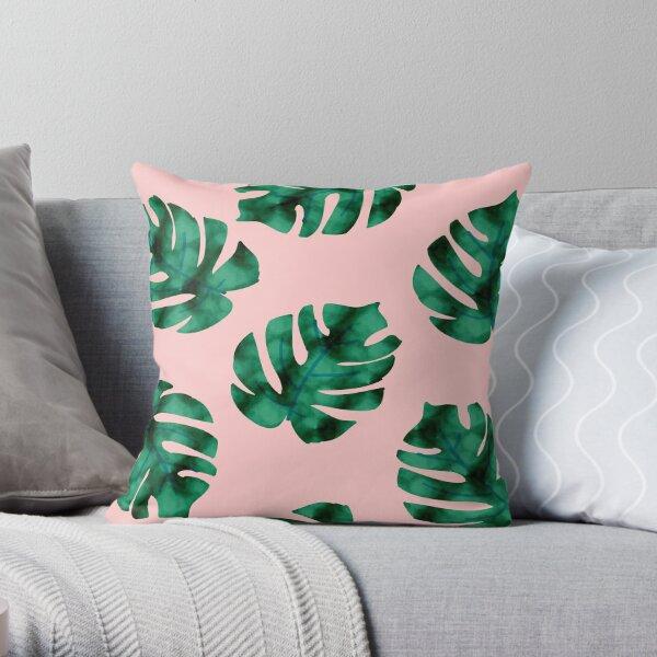 Tropical fern leaves on peach Throw Pillow