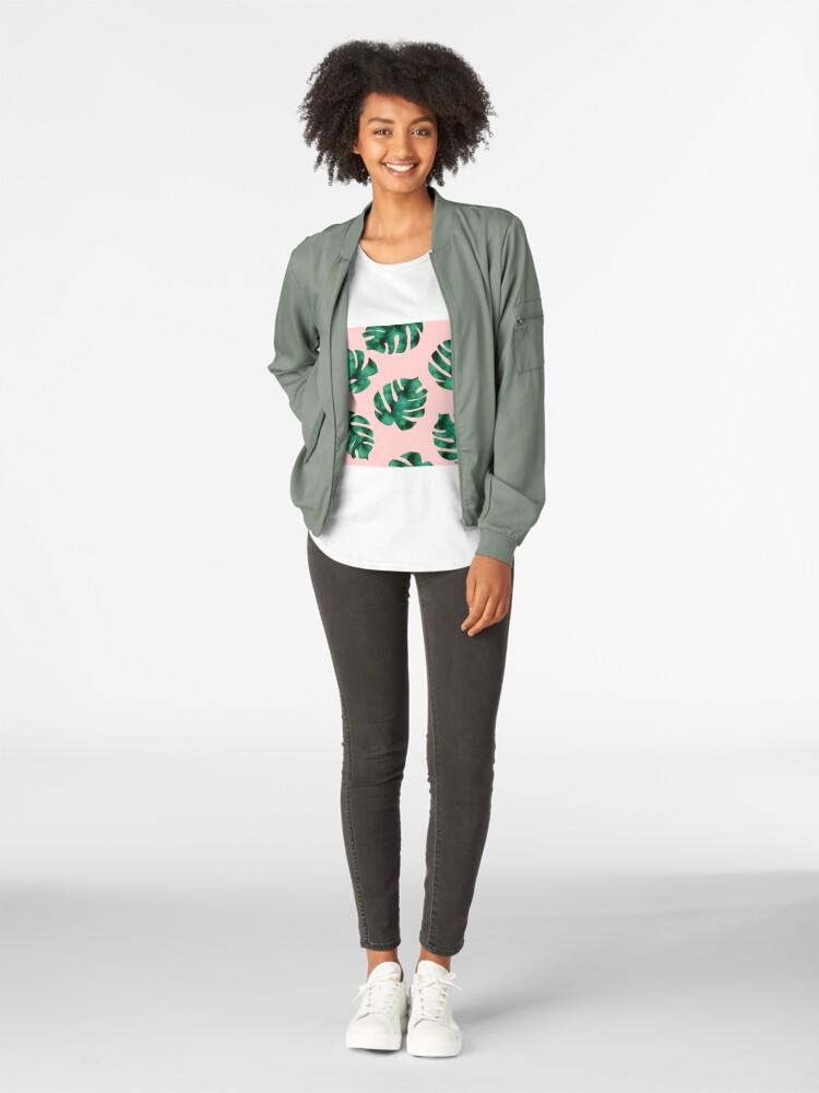 Alternative Ansicht von Tropische Farnblätter auf Pfirsich Premium Rundhals-Shirt
