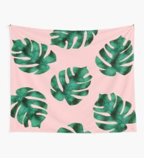 Tropical fern leaves on peach Wall Tapestry