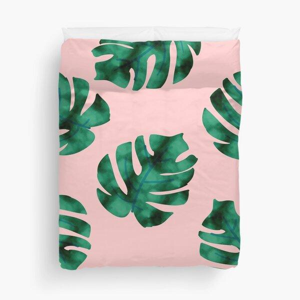Tropical fern leaves on peach Duvet Cover