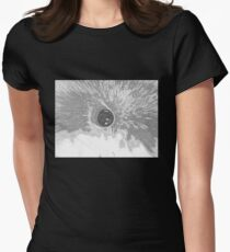 BLACK & WHITE PENCIL MOON Women's Fitted T-Shirt