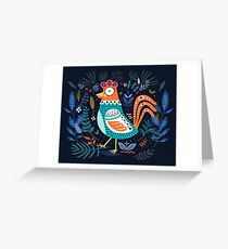 Blue Floral Roster Greeting Card