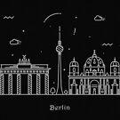 Berlin Skyline Minimal Line Art Poster by A Deniz Akerman