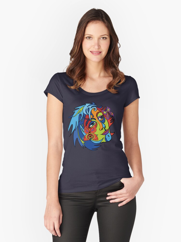 Butterfly Lady Women's Fitted Scoop T-Shirt Front
