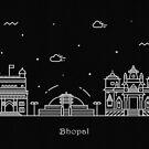 Bhopal Skyline Minimal Line Art Poster by A Deniz Akerman