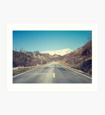 Road with mountain Art Print