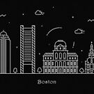 Boston Skyline Minimal Line Art Poster by A Deniz Akerman