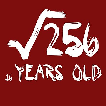 Square Root of 256 16 yrs years old 16th birthday T-Shirt by DRESS-LUST