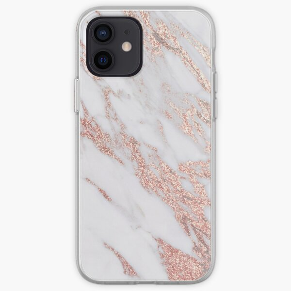 Blush pink rose gold marble iPhone Soft Case
